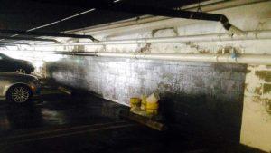 before waterproofing below grade parking garage wall