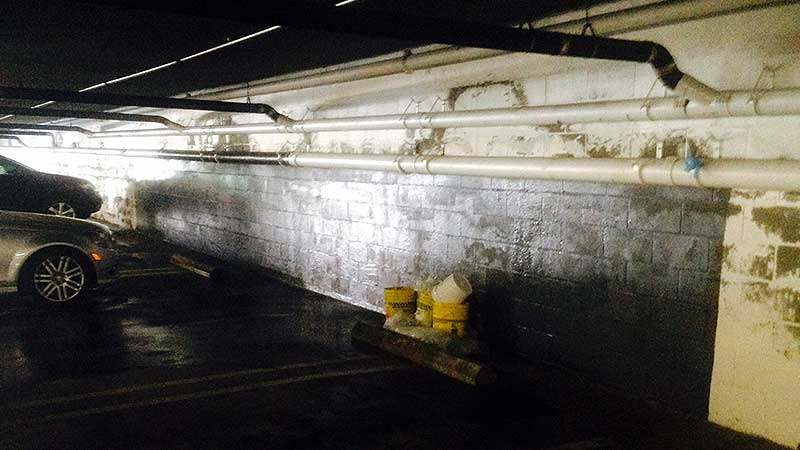 Before Waterproofing Parking Garage Wall