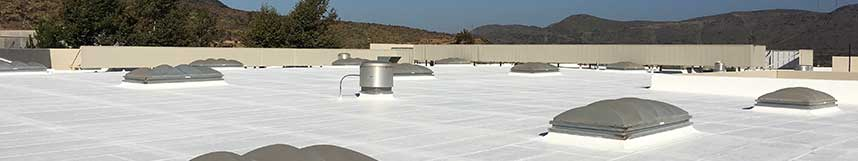 flat roof with white elastomeric coating