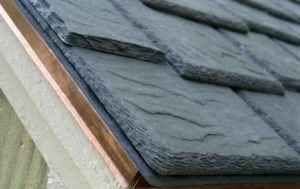 close up polymer slate roof