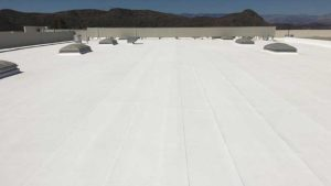 after coating a commercial flat roof